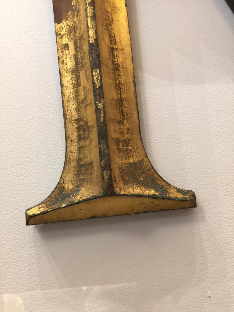 19th Century Gilded Cast Bronze Letter