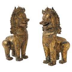 19th Century Gilt Bronze Foo Dogs