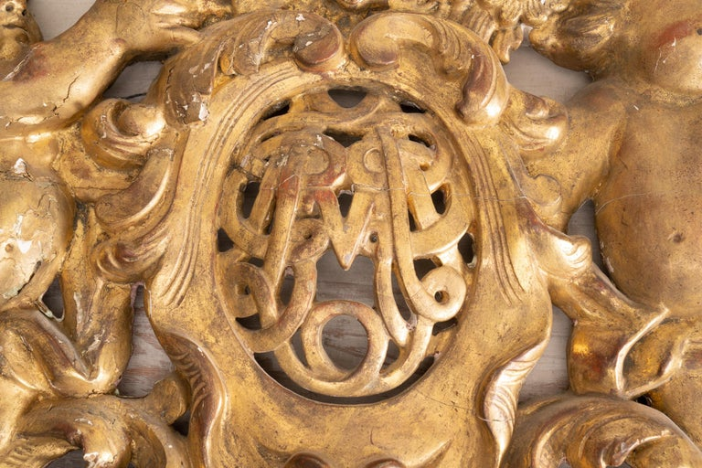 Carved 19th Century Giltwood Architectural with Putti For Sale