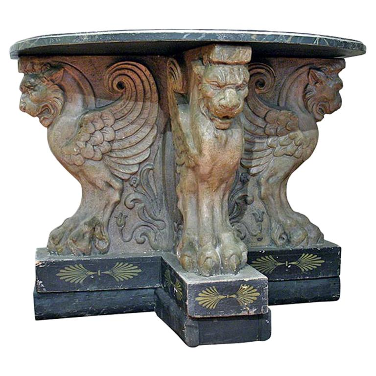 19th c. Glazed Plaster Console with Faux Marble Top