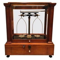 19th Century Gold/Apothecary Desktop Scale in Cherry and Brass by Henry Troemner