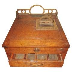 19th c Golden Oak and Brass Flat Model National Cash Register Money Box