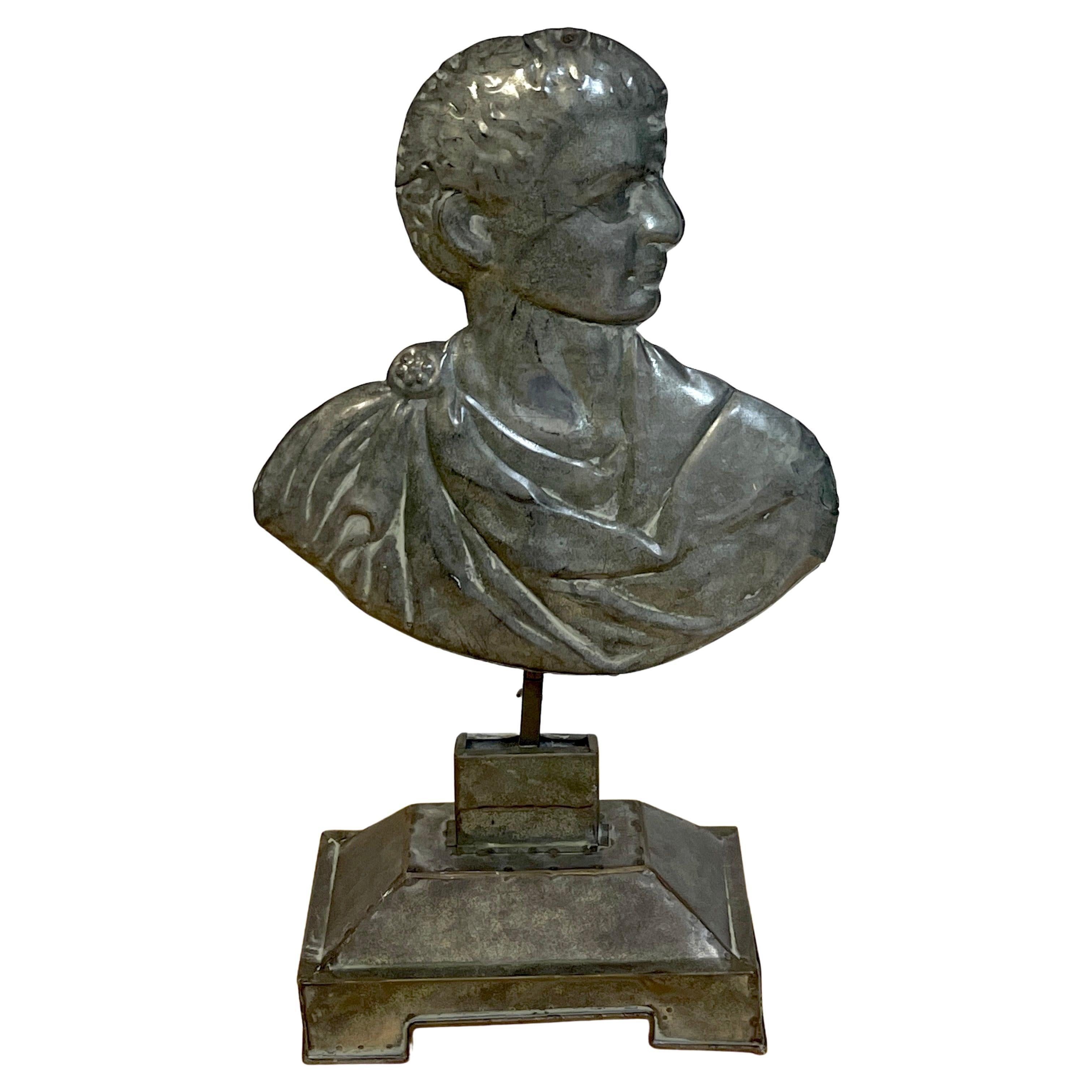 19th C Grand Tour Italian Tole Portrait Bust of a Roman Emperor