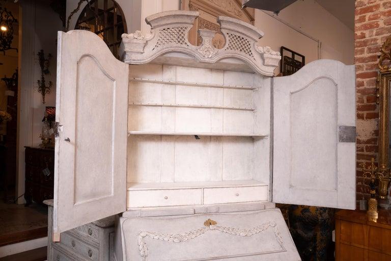 Pine 19th Century Gustavian Painted Secretary For Sale