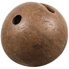 19th Century Hand Carved Lingum Vitae Bowling Ball, circa 1800s