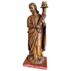 Hand Carved Wood Figure Sculpture of Angel Statue Antiques Los Angeles