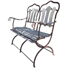 Hand Forged Iron and Wood Garden Park Bench Seat Furniture Antiques LA CA