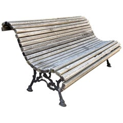Hand Forged Metal and Carved Wood Antique Park Garden Bench Seat Furniture