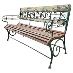 Hand Forged Metal and Wood Garden Bench Seat Furniture Antiques Dealer LA