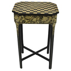 19th C. Hand Painted Black and Cream Checkerboard Victorian Accent Side Table