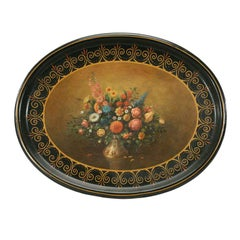 19th C. Hand Painted Victorian Papier-Mache Tray