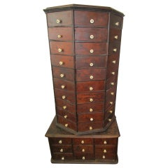 19th c. Hardware Store Oak Ninety-Eight Drawer Octagonal Screw and Bolt Cabinet