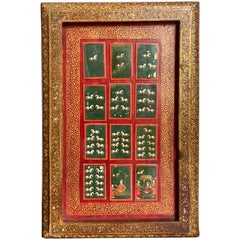 19th C Indian Mughal Painted Bone Playing Cards in Gilt Lacquered Frame