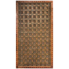 Indian Polychrome Carved Architectural Ceiling Panel with Lotus Blossoms