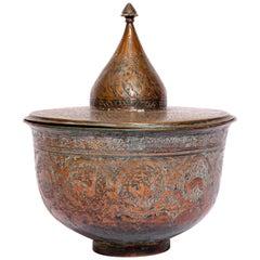 19th Century Indo Persian Tinned Copper Vessel