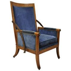 Italian Biedermeier Mahogany Reclining Lounge Armchair Cast Iron Hardware