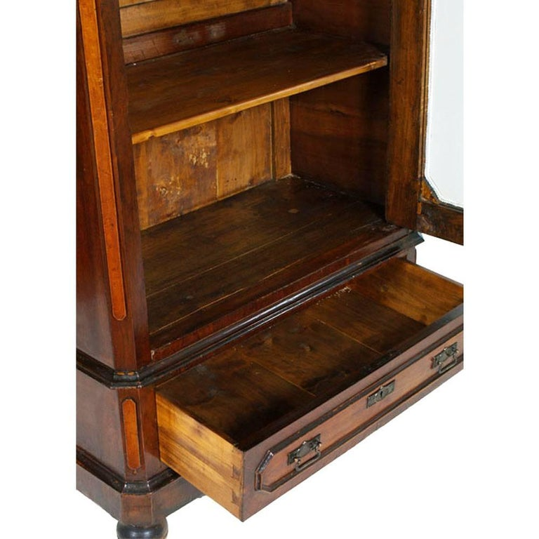 Italian Display Cabinet Bookcase, Louis Philippe Restored Wax-Polished In Good Condition For Sale In Vigonza, Padua
