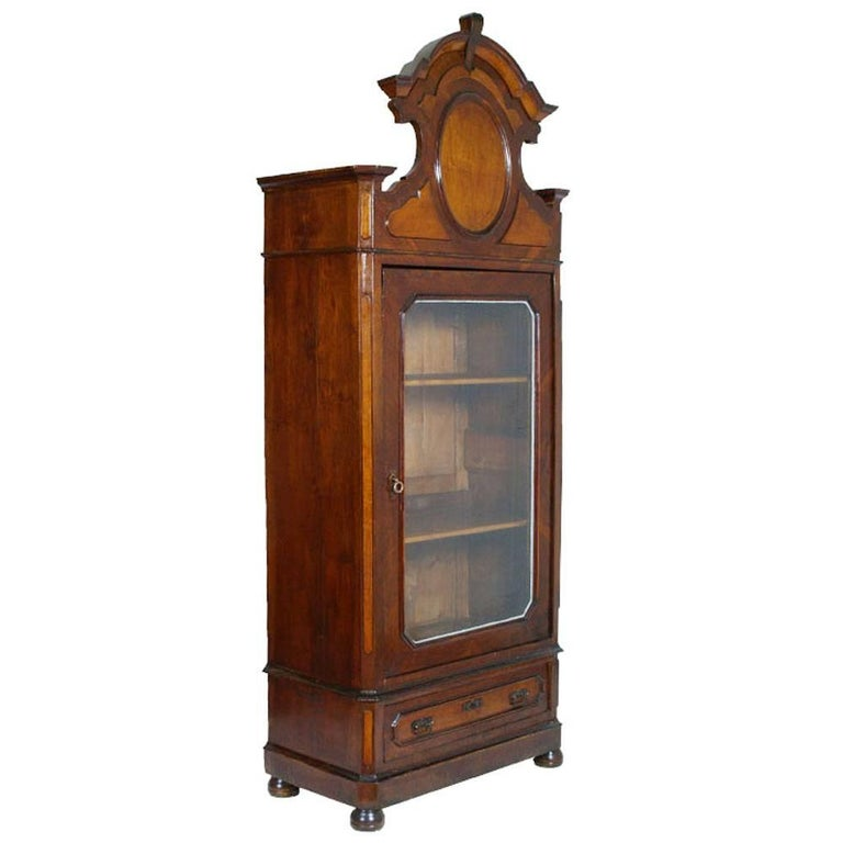 Italian Display Cabinet Bookcase, Louis Philippe Restored Wax-Polished For Sale