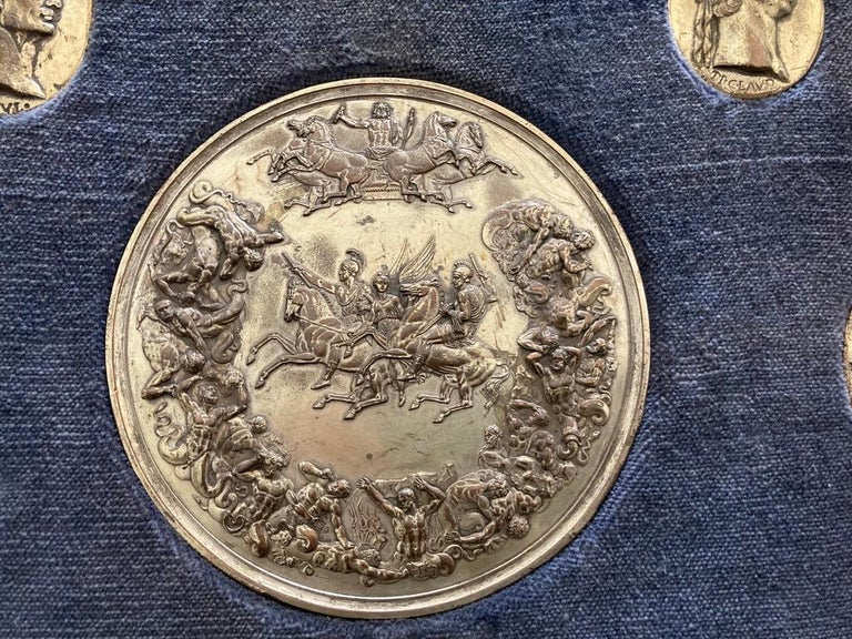 Silvered Italian Grand Tour Medals of Roman Emperors and the Roman Colosseum For Sale