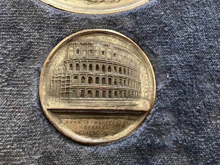 19th Century Italian Grand Tour Medals of Roman Emperors and the Roman Colosseum For Sale