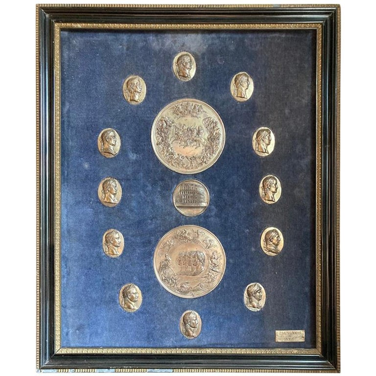 Italian Grand Tour Medals of Roman Emperors and the Roman Colosseum For Sale