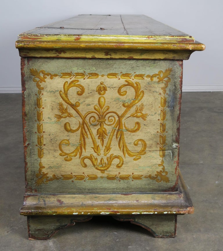 Wrought Iron 19th Century Italian Hand Painted Chest with Cherubs For Sale