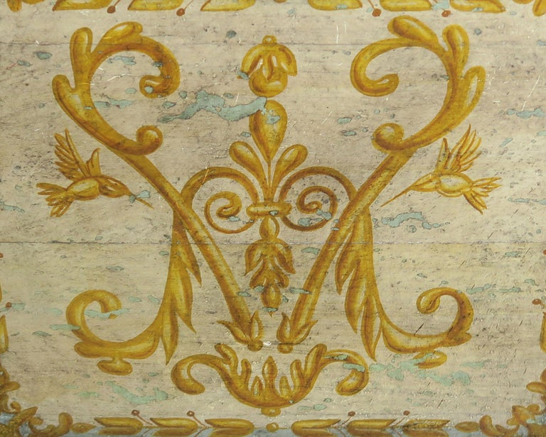 19th Century Italian Hand Painted Chest with Cherubs For Sale 2