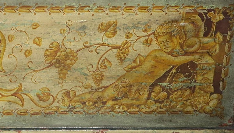 19th Century Italian Hand Painted Chest with Cherubs For Sale 3