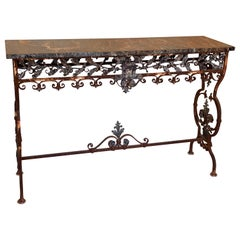 19th C. Italian Iron Console with Oak Leaf Frieze and Marble Top