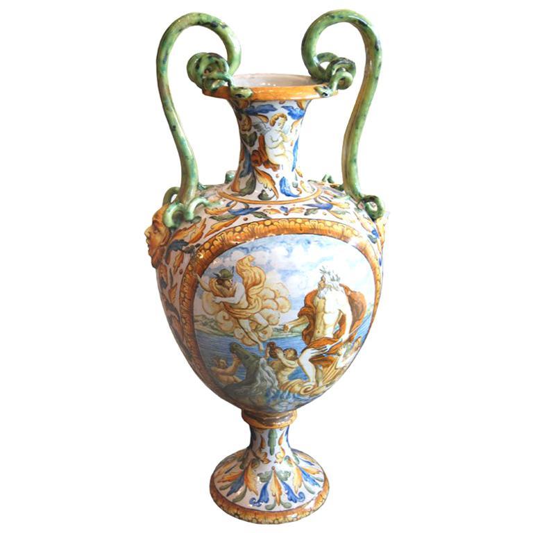 19th c. Italian Majolica Urn For Sale