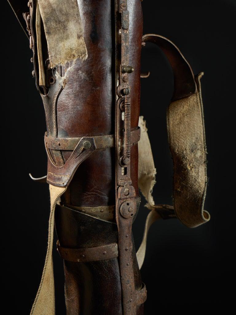 Leather 19th Century, Italian Original Wooden Prosthetic Leg For Sale