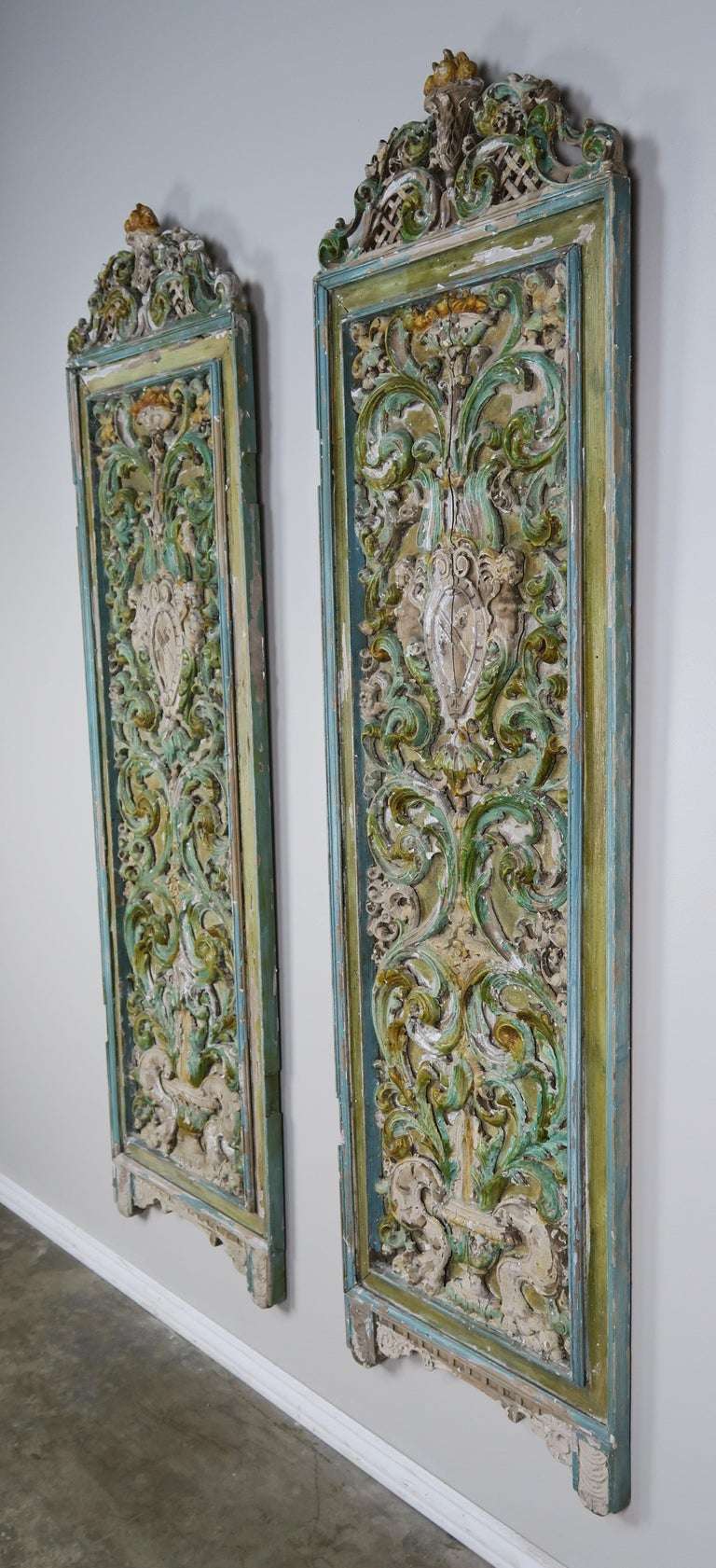 19th Century Italian Painted Carved Wood Panels, Pair For Sale 7