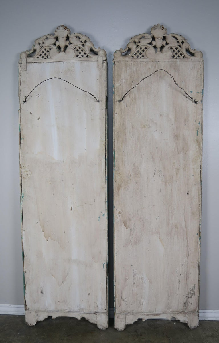 19th Century Italian Painted Carved Wood Panels, Pair For Sale 8