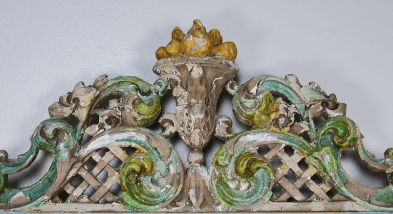 Rococo 19th Century Italian Painted Carved Wood Panels, Pair For Sale