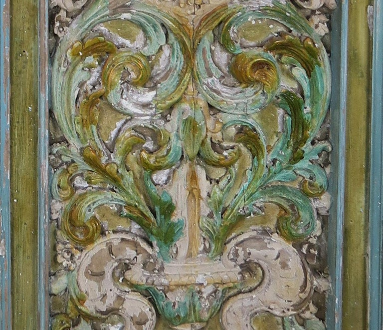 Hand-Painted 19th Century Italian Painted Carved Wood Panels, Pair For Sale