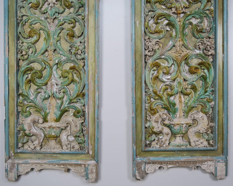 19th Century Italian Painted Carved Wood Panels, Pair In Distressed Condition For Sale In Los Angeles, CA