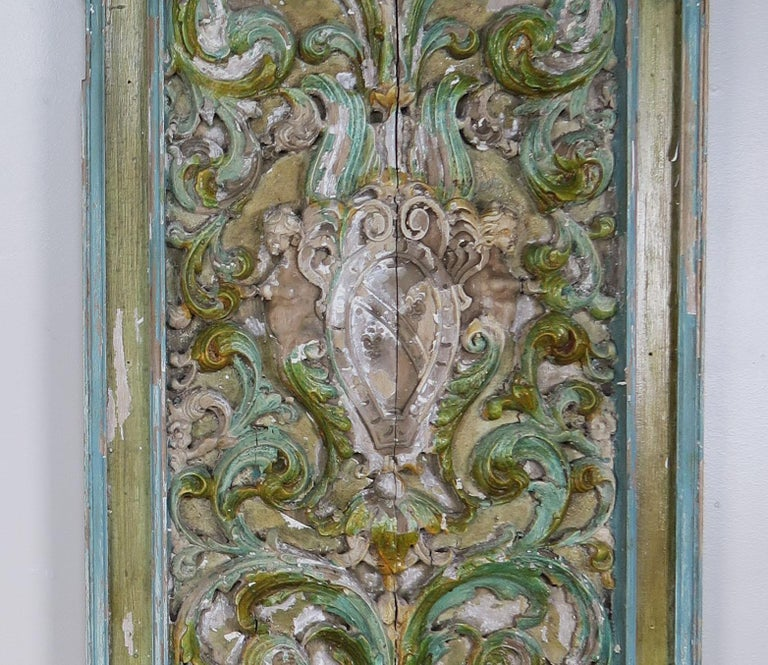 19th Century Italian Painted Carved Wood Panels, Pair For Sale 1
