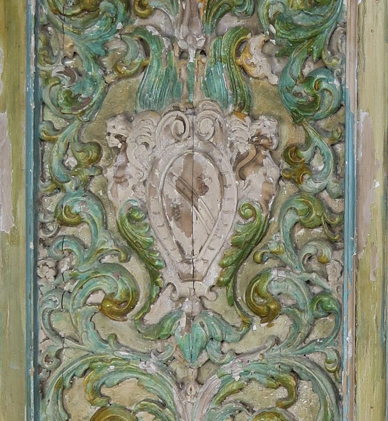 19th Century Italian Painted Carved Wood Panels, Pair For Sale 2