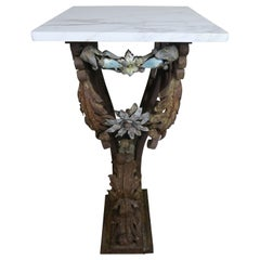 19th Century Italian Painted Wrought Iron Table with Carrara Marble Top