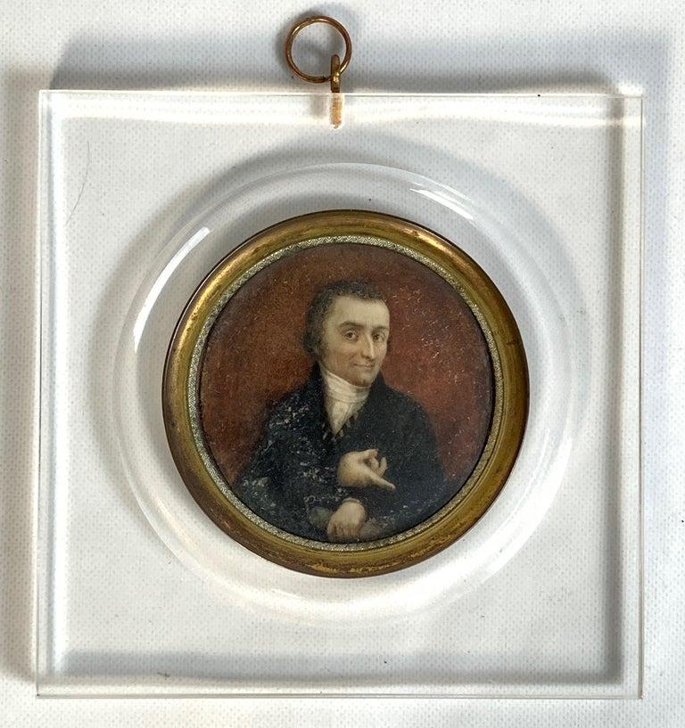 Hand-Painted 19th Century Italian Portrait Miniature For Sale