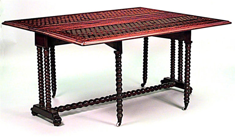 19th C Italian Renaissance Style Inlaid Dining Table