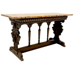 19th C. Italian Renaissance Style Walnut and Siena Marble Console Table