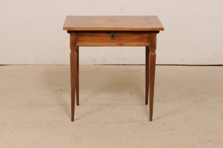 19th C. Italian Writing Desk w/Decorative Inlay & Sliding Top for Hidden Storage For Sale 5