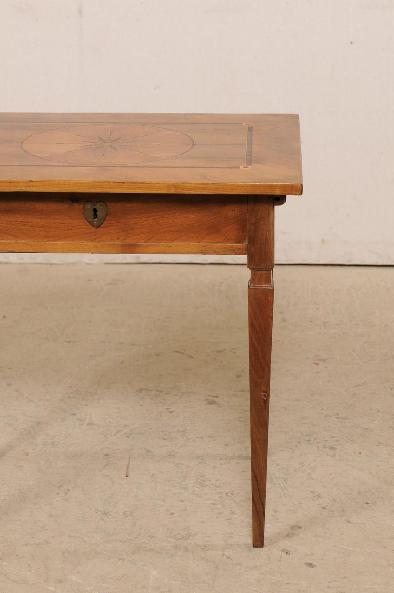 19th C. Italian Writing Desk w/Decorative Inlay & Sliding Top for Hidden Storage For Sale 6