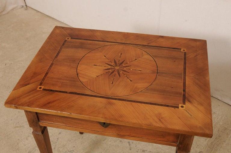 19th C. Italian Writing Desk w/Decorative Inlay & Sliding Top for Hidden Storage In Good Condition For Sale In Atlanta, GA