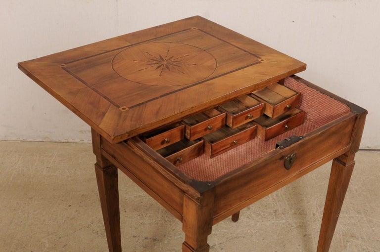 19th Century 19th C. Italian Writing Desk w/Decorative Inlay & Sliding Top for Hidden Storage For Sale