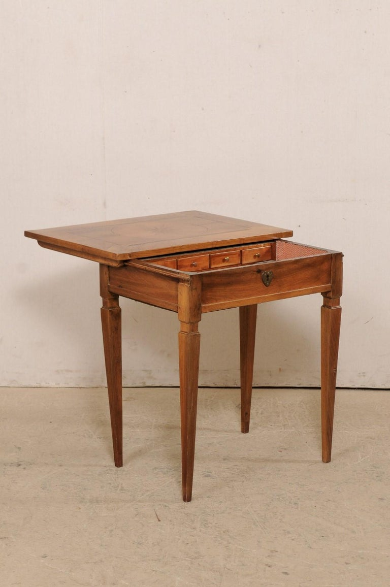 Fruitwood 19th C. Italian Writing Desk w/Decorative Inlay & Sliding Top for Hidden Storage For Sale