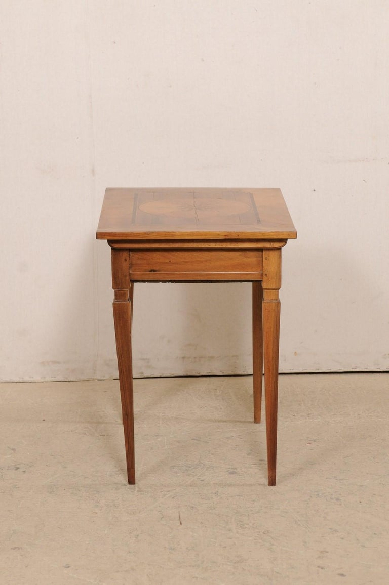 19th C. Italian Writing Desk w/Decorative Inlay & Sliding Top for Hidden Storage For Sale 1