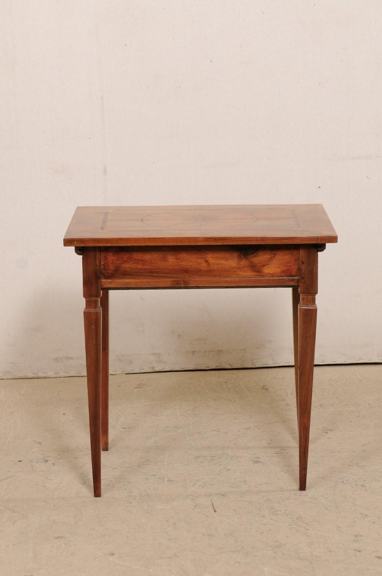 19th C. Italian Writing Desk w/Decorative Inlay & Sliding Top for Hidden Storage For Sale 2