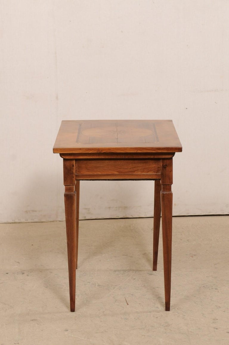 19th C. Italian Writing Desk w/Decorative Inlay & Sliding Top for Hidden Storage For Sale 3